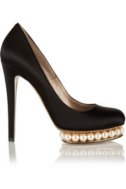 Nicholas Kirkwood Embellished satin pumps
