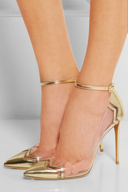 Metallic leather and PVC pumps