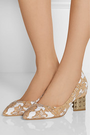 Nicholas Kirkwood Laser-cut cork and faille pumps