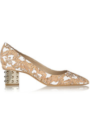 Laser-cut cork and faille pumps