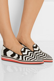 Chevron-print suede and leather point-toe flats
