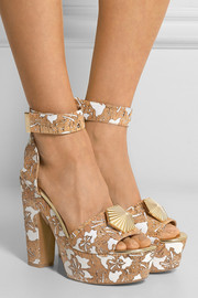 Laser-cut cork and faille sandals