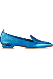 Metallic textured-leather point-toe flats