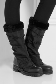 Jimmy Choo Drexel shearling-lined piqué-shell boots