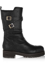 Dwight shearling-lined leather biker boots