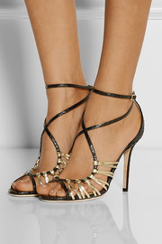 Jimmy Choo Legia elaphe and metallic leather sandals