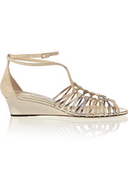 Laze metallic leather and suede wedge sandals