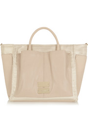Nellie metallic coated canvas and leather tote