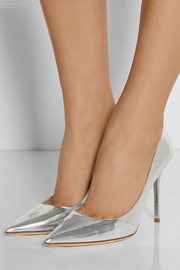Abel mirrored-leather pumps