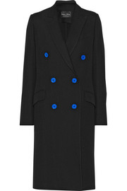 Double-breasted wool-blend twill coat