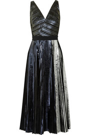 Pleated metallic coated cloqué dress