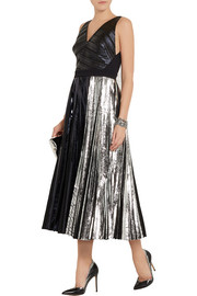 Proenza Schouler Pleated metallic coated cloqué dress