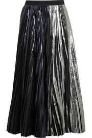 Pleated metallic coated cloqué maxi skirt