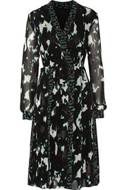 Printed silk-chiffon dress