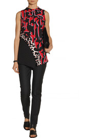 Proenza Schouler Printed crepe and fil coupé top