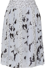 Printed silk-chiffon skirt
