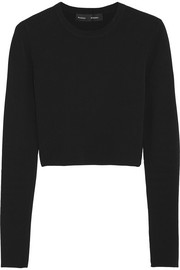 Cropped jersey sweater
