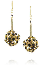 Soffioni gold-dipped onyx drop earrings