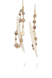 Kenia gold-dipped, agate, horn and lava earrings