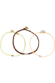 SCOSHA Set of three woven, diamond and turquoise bracelets