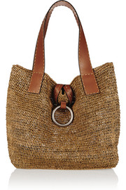 Janey large raffia and leather tote