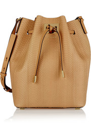 Miranda large leather-trimmed python bucket bag