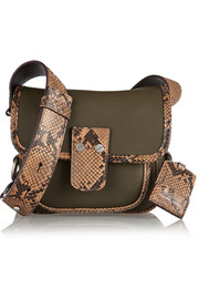 Taylor small python-trimmed leather shoulder bag