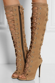 Textured-suede knee boots