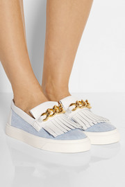 Giuseppe Zanotti Chain-embellished denim and leather slip-on sneakers
