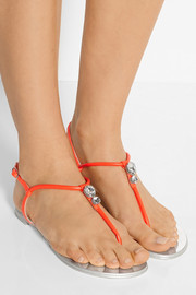 Giuseppe Zanotti Crystal-embellished neon leather sandals