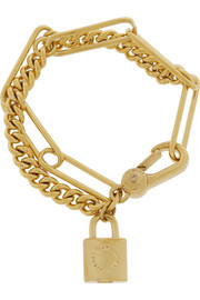 Locked Up gold-tone cubic zirconia bracelet
