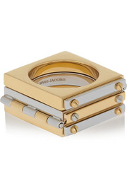 Marc by Marc Jacobs Gold and gunmetal-tone hinged ring