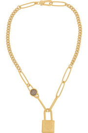 Locked Up gold-tone cubic zirconia necklace