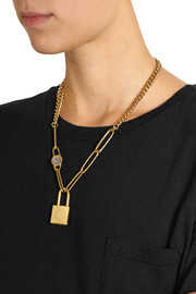 Marc by Marc Jacobs Locked Up gold-tone cubic zirconia necklace