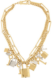 Lock & Key gold-tone crystal necklace