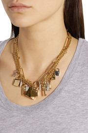 Marc by Marc Jacobs Lock & Key gold-tone crystal necklace