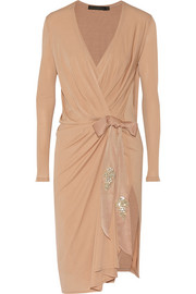 Donna Karan New York Element embellished wrap-effect stretch-jersey dress
