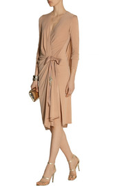 Element embellished wrap-effect stretch-jersey dress