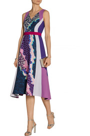 Vapor printed stretch-crepe dress