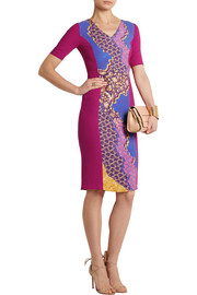 Printed stretch-wool crepe dress