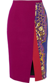 Ria printed stretch-cady pencil skirt
