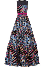Peter Pilotto Circuit embellished metallic-jacquard gown