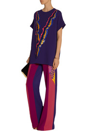 Peter Pilotto OS color-block printed stretch-wool wide-leg pants