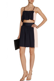 Opening Ceremony Two-tone pleated cady skirt