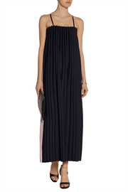 Two-tone pleated cady maxi dress
