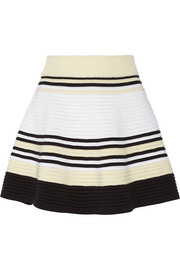 Striped ribbed cotton mini skirt