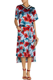 Suno Floral-print silk-satin midi dress