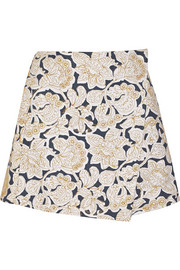 Embroidered cotton-canvas mini skirt