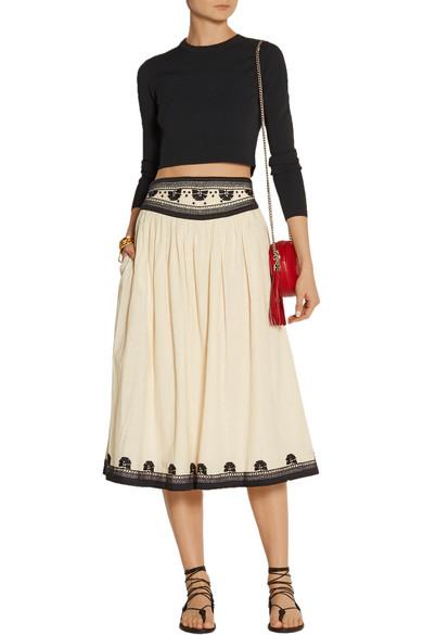 Suno | Embroidered cotton midi skirt | NET-A-PORTER.COM
