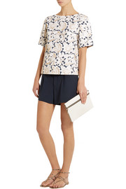 Suno Metallic embroidered cotton-canvas top